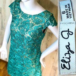 Eliza J Aqua Fit & Flare Lace Appliqué Dress